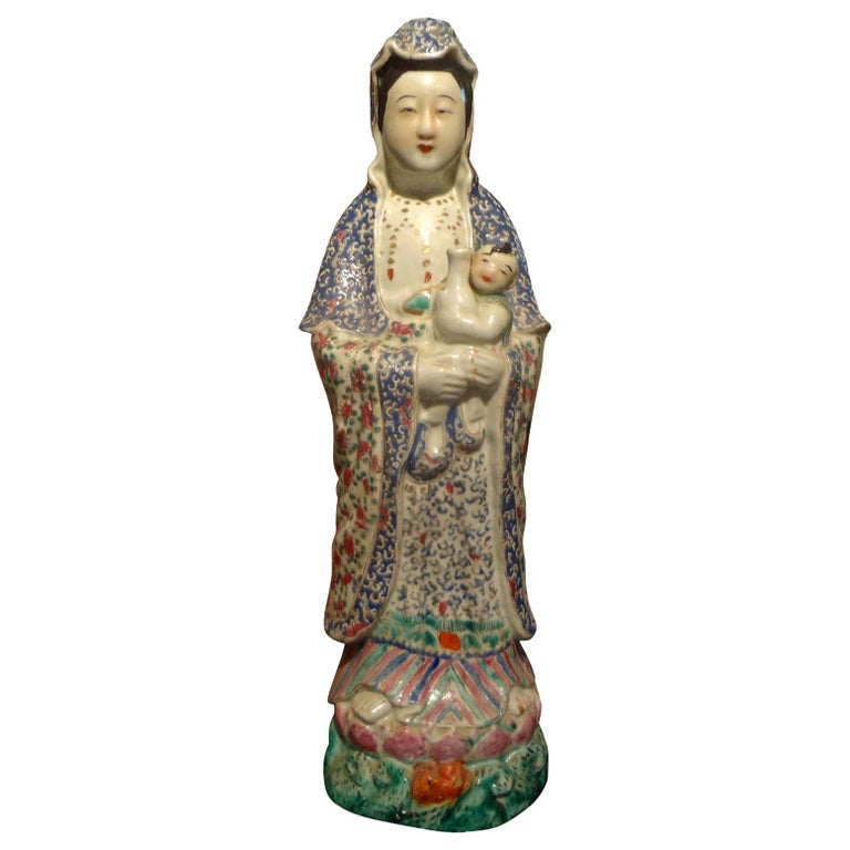 Late 19th-Early 20th Century Chinese Hand Decorated Porcelain Figure For Sale