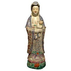 Late 19th-Early 20th Century Chinese Hand Decorated Porcelain Figure