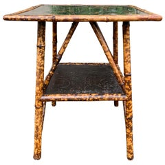 Late 19th-Early 20th Century English Bamboo and Lacquered Chinoiserie Side Table