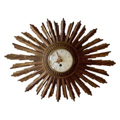 Late 19th-Early 20th Century French Sunburst Clock