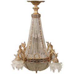 Late 19th-Early 20th Century Gilt Bronze Beaded Basket Twelve-Light Chandelier