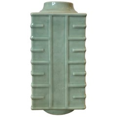 Late 19th-Early 20th Century Glazed Celadon Porcelain Square Cong Form Vase