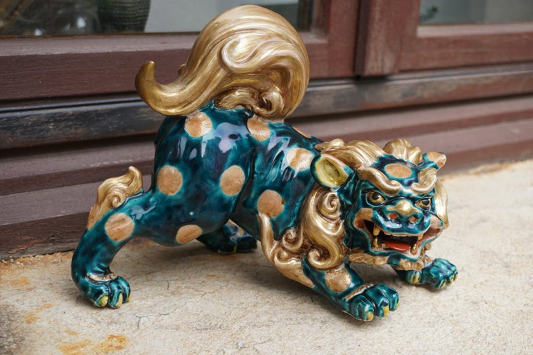 Late 19th-Early 20th Century Glazed Porcelain Lion Foo Dog For Sale 13