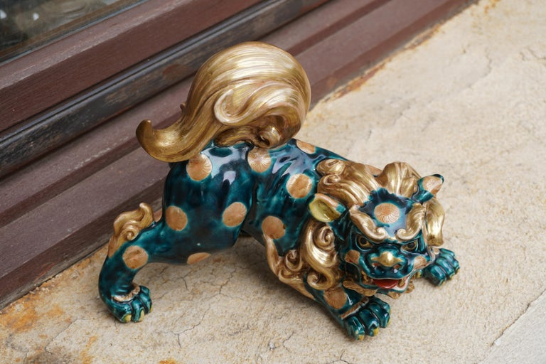 Late 19th-Early 20th Century Glazed Porcelain Lion Foo Dog For Sale 14