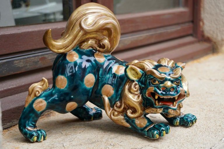Late 19th-Early 20th Century Glazed Porcelain Lion Foo Dog For Sale 15