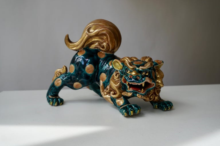 Chinese Export Late 19th-Early 20th Century Glazed Porcelain Lion Foo Dog For Sale
