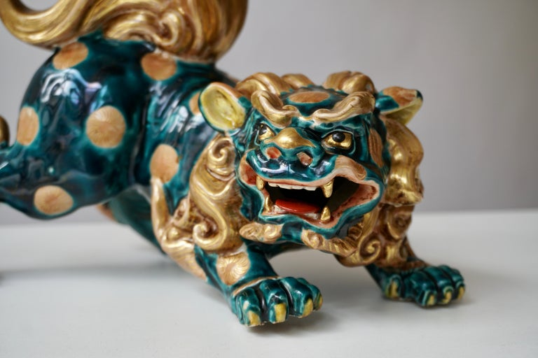 Chinese Late 19th-Early 20th Century Glazed Porcelain Lion Foo Dog For Sale