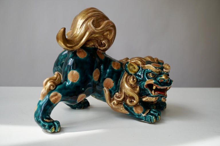 Late 19th-Early 20th Century Glazed Porcelain Lion Foo Dog For Sale 3