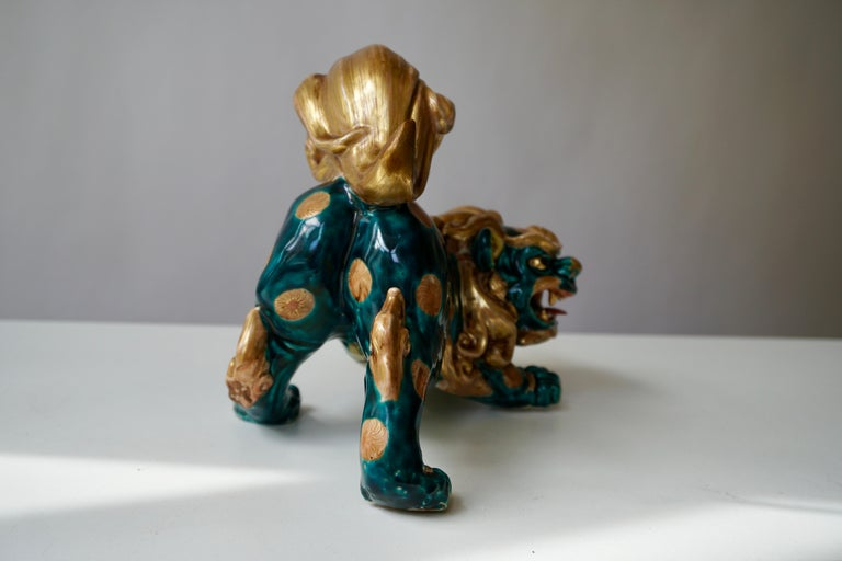 Late 19th-Early 20th Century Glazed Porcelain Lion Foo Dog For Sale 4