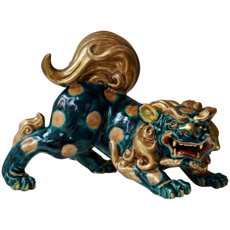 Late 19th-Early 20th Century Glazed Porcelain Lion Foo Dog For Sale