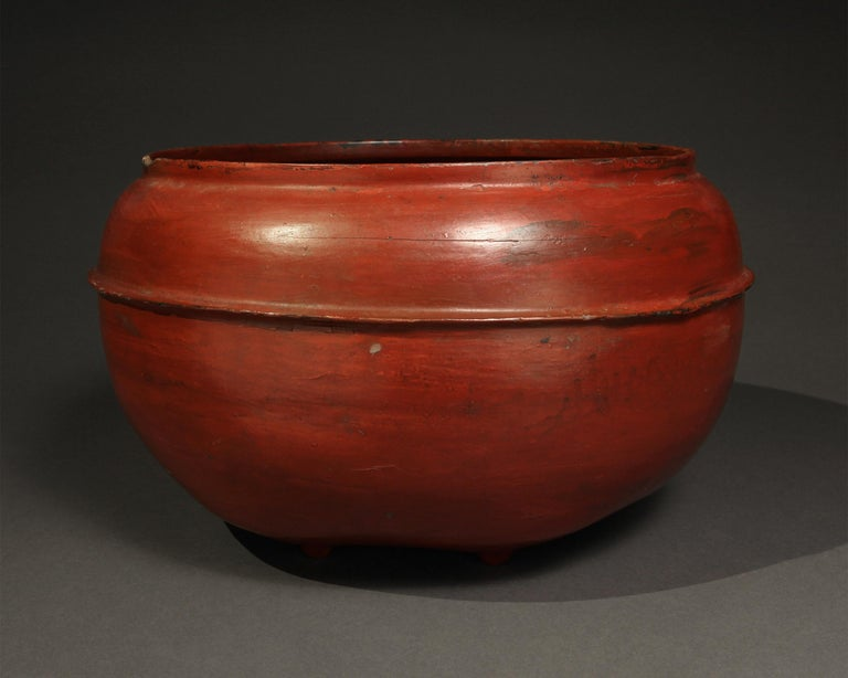 Late 19th-early 20th century red lacquer container from Burma.