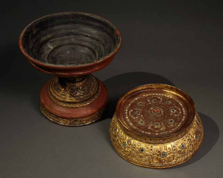 Tribal Late 19th-Early 20th Century Lacquer Standing Offering Dish, Burma For Sale