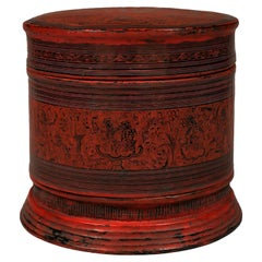 Late 19th-Early 20th Century Lacquered Wood Betel Box, Burma