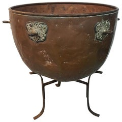 Late 19th-Early 20th Century Large Copper Bin on Wrought Iron Frame