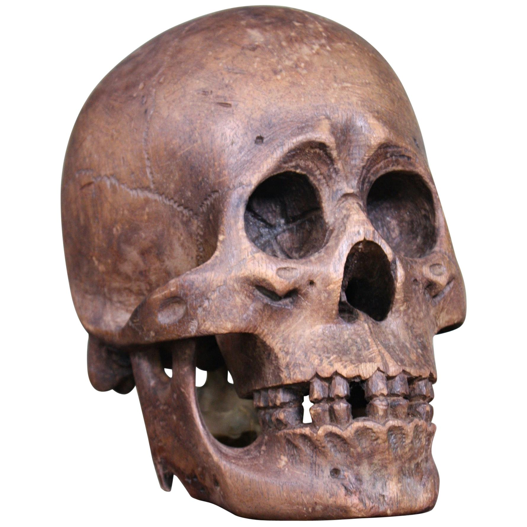 Late 19th-Early 20th Century Life-Size Treen Carved Memento Mori Human Skull