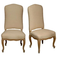 Late 19th-Early 20th Century Pair of French Louis XV Low Chairs or Chauffeuses