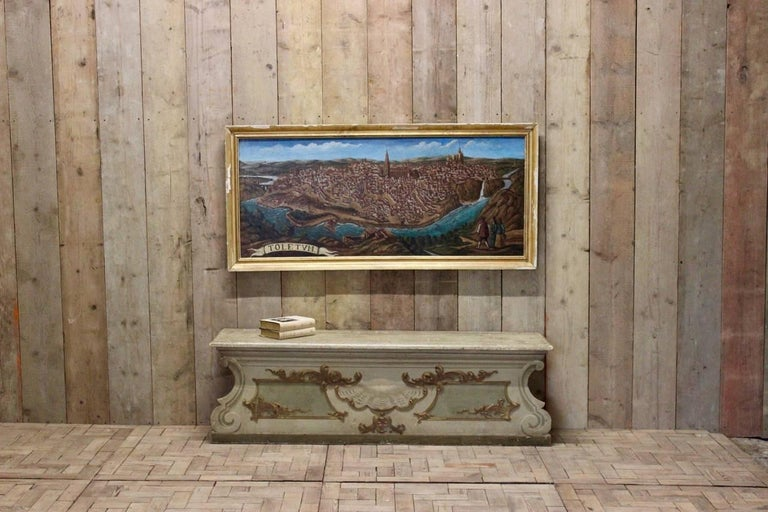 Baroque Revival Late 19th-Early 20th Century Spanish Painting of Toledo For Sale