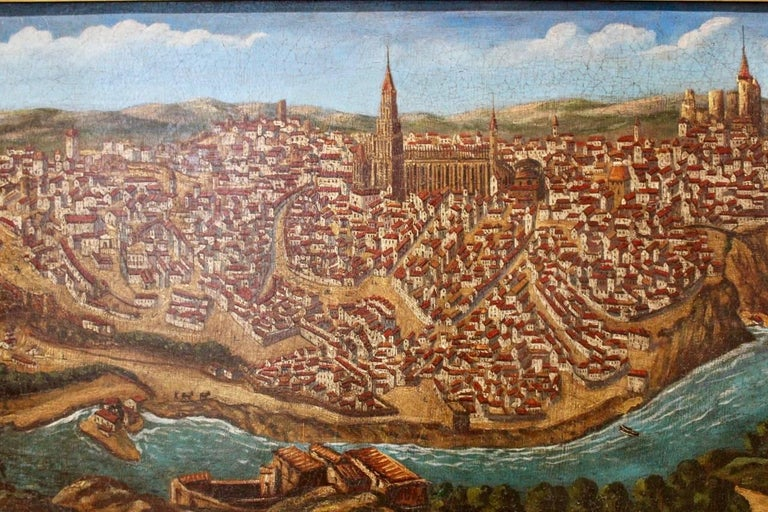 Late 19th-Early 20th Century Spanish Painting of Toledo For Sale 1