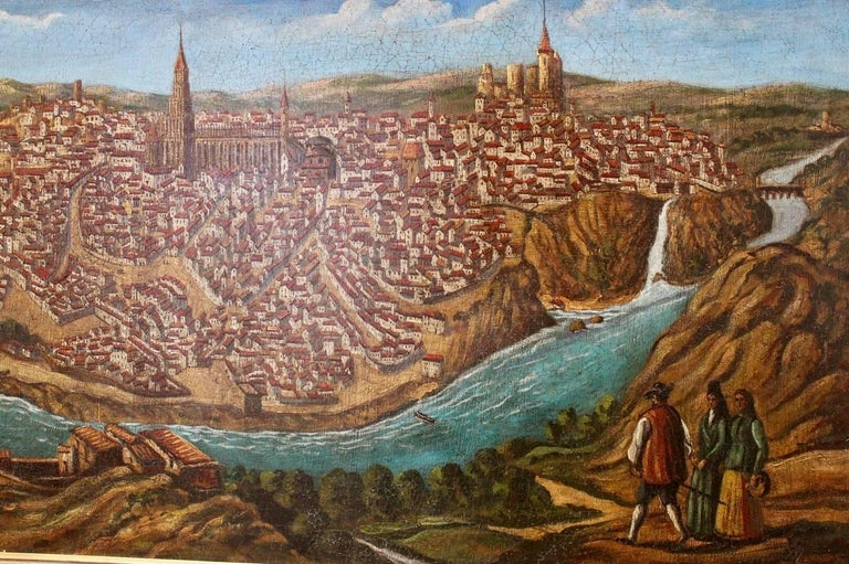 Late 19th-Early 20th Century Spanish Painting of Toledo For Sale 2