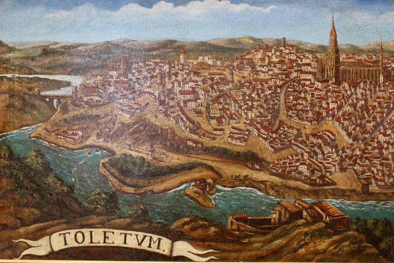 Late 19th-Early 20th Century Spanish Painting of Toledo For Sale 3