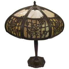 Early 20th Century Table Lamp with Glass and Pierced Metal Shade