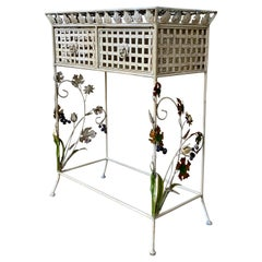 Late 19th French Handprinted Forged Iron Console Table with Two Drawers
