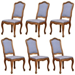 Late 19th Italian Louis XV Carved Walnut Dining Chairs with Silk - Set of Six