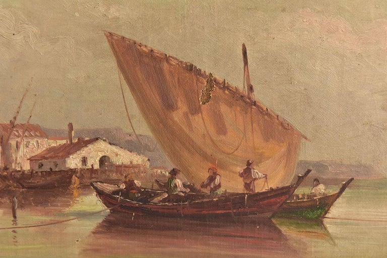 Late 19th Marine oil painting representing a fishing boat at the harbor with houses by Paul Seignon (1820-1890) dimension 42 cm by 27 cm.