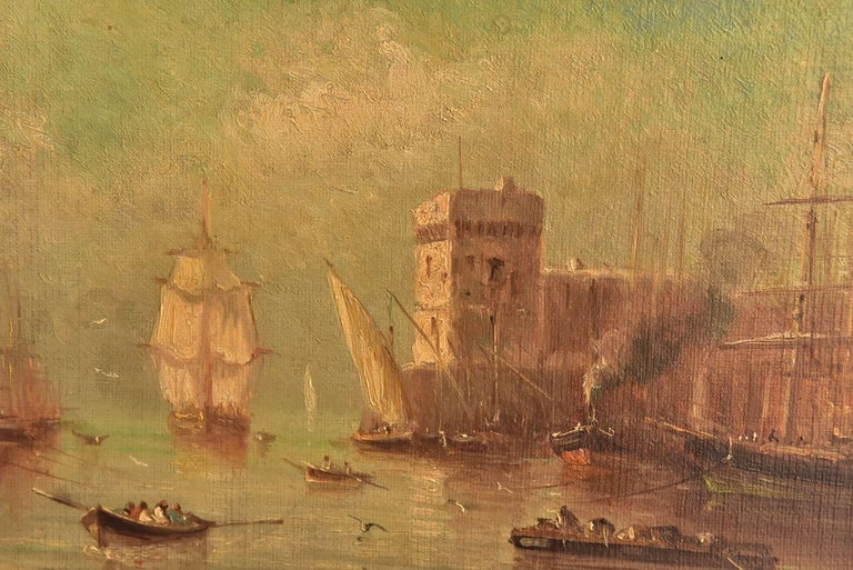 Later 19th marine oil painting representing the entrance to the harbour of Marseille (France) by Paul Seignon, (1820-1890).