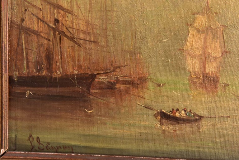 French Late 19th Marine Oil Painting by Paul Seignon For Sale