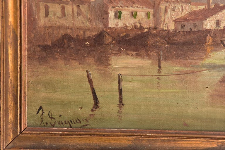 Painted Late 19th Marine Oil Painting by Paul Seignon For Sale