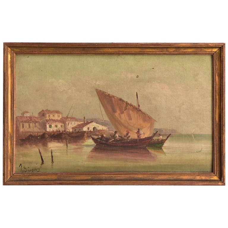 Late 19th Marine Oil Painting by Paul Seignon For Sale