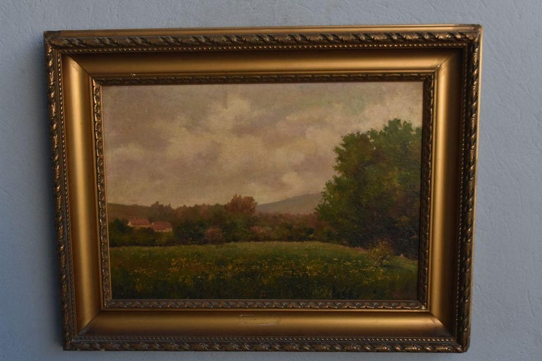 Oil on canvas landscape by Paul Huet, end of the 19th century in a wooden frame and gilded stucco signature lower right, canvas to clean because the varnishes having turned yellow it will gain in light. Internal dimensions: 61 by 44 cm, external
