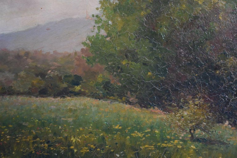 Late 19th Century Oil on Canvas Landscape by Paul Huet In Fair Condition For Sale In Marseille, FR