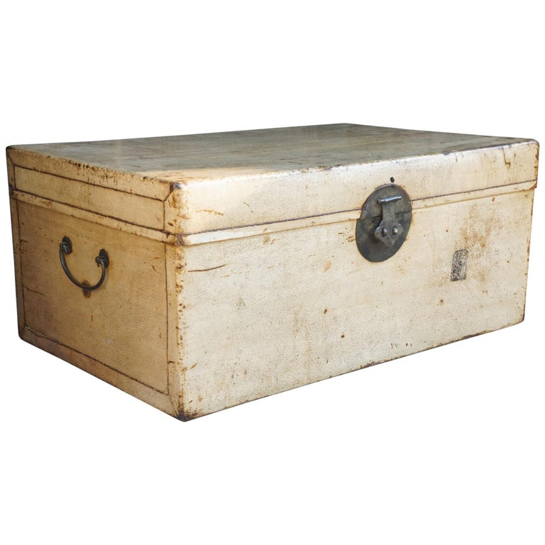 Late 19th or Early 20th Century Chinese Sandalwood and Pigskin Trunk For Sale