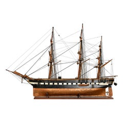 Late 19th or Early 20th Century Italian Three-Masted Steam-Frigate Model