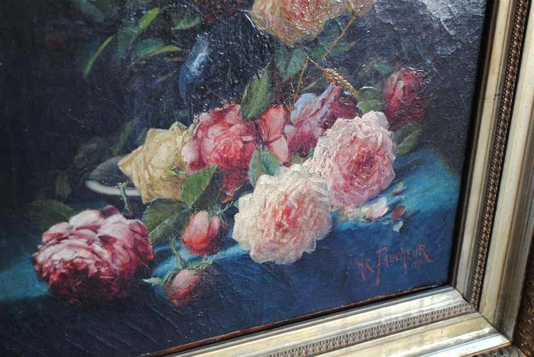 Late 19th Century Still Life Oil Painting Bouquet of Flowers by Arthur Faucheur For Sale 4