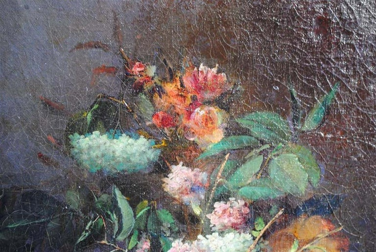 Still life oil painting bouquet of flowers by Arthur Faucheur dated 1895.