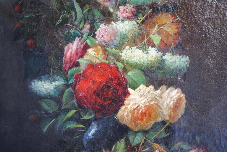 European Late 19th Century Still Life Oil Painting Bouquet of Flowers by Arthur Faucheur For Sale