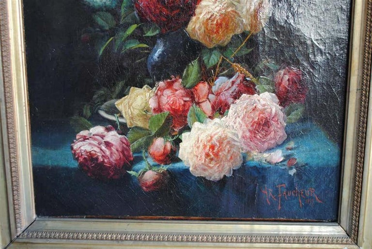 Hand-Painted Late 19th Century Still Life Oil Painting Bouquet of Flowers by Arthur Faucheur For Sale