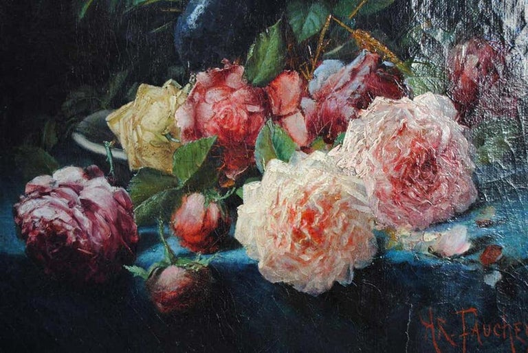 Canvas Late 19th Century Still Life Oil Painting Bouquet of Flowers by Arthur Faucheur For Sale