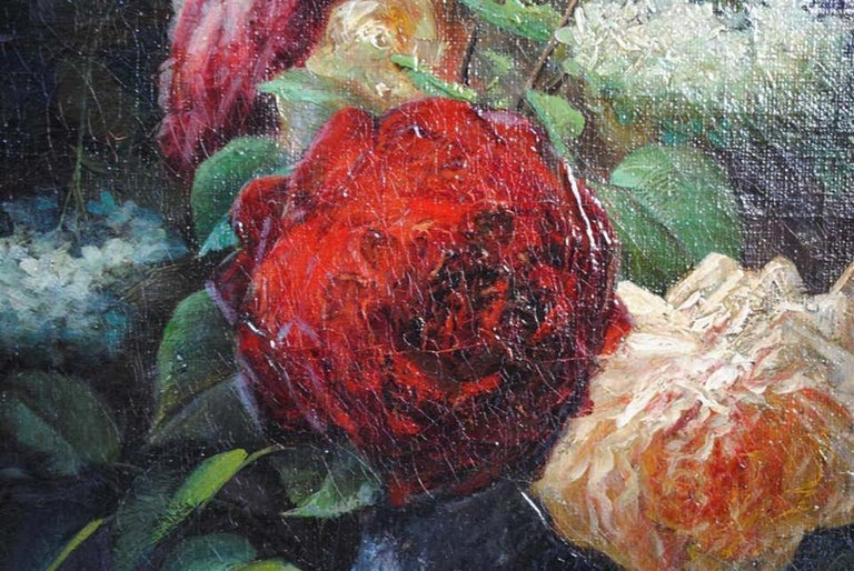 Late 19th Century Still Life Oil Painting Bouquet of Flowers by Arthur Faucheur For Sale 1