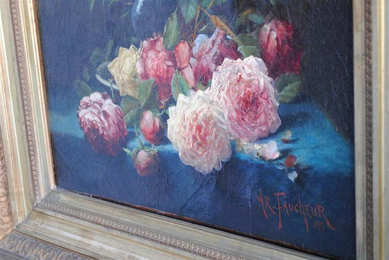 Late 19th Century Still Life Oil Painting Bouquet of Flowers by Arthur Faucheur For Sale 2