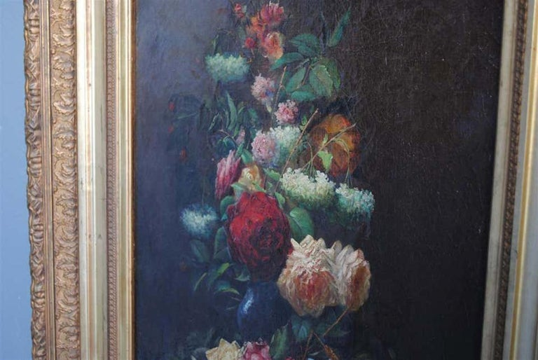 Late 19th Century Still Life Oil Painting Bouquet of Flowers by Arthur Faucheur For Sale 3