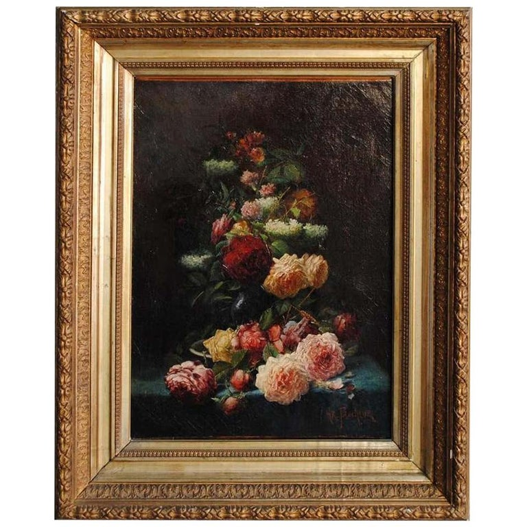 Late 19th Century Still Life Oil Painting Bouquet of Flowers by Arthur Faucheur For Sale