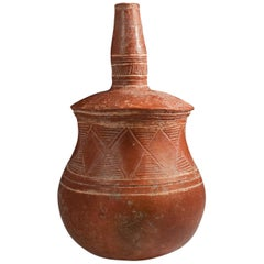 Late 19th-Early 20th Century Tribal Terracotta Bottle, Djenne Area, Mali