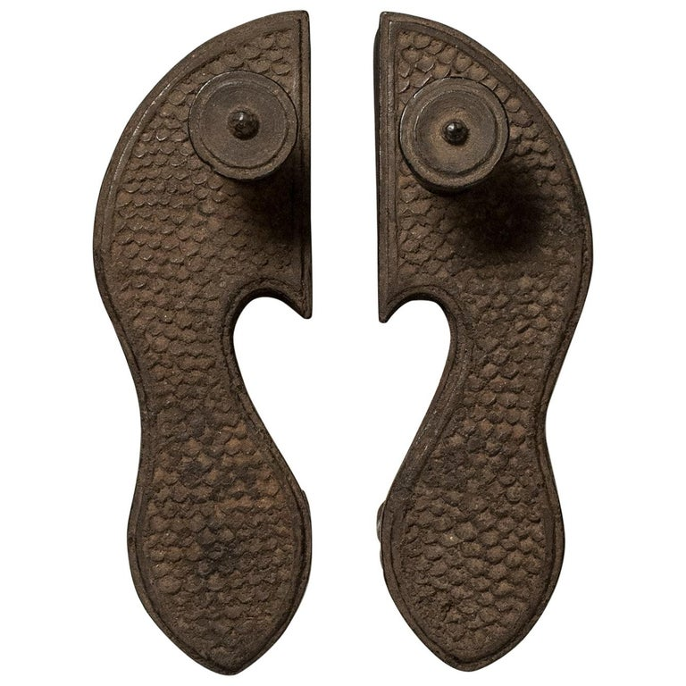 Late 19th-Early 20th Century Tribal Wood Paduka Sandals, India For Sale