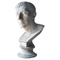 Late 19thc Plaster Library Bust of Julius Caesar C.1870-90, Aynhoe Park