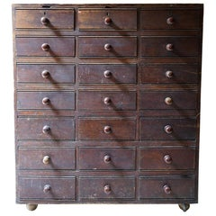 Late 19thc Stained Pine Bank of Twenty-One Drawers, c.1890