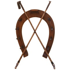 Late 19th Century Walnut Hat Rack of Equestrian Theme